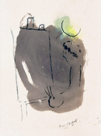 Marc Chagall Watercolor, L'Artiste au Chevalet (The Artist at the Easel), 1953