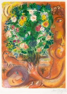 Marc Chagall Lithograph, Femme au Bouquet (Woman with Bouquet), 1967