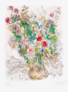 Marc Chagall Lithograph, Roses et Mimosa (Roses and Mimosa), 1975