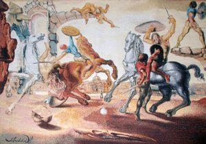 Salvador Dalí Tapestry, Bataille autour d'un pissenlit (Battle Around a Dandelion), 1988