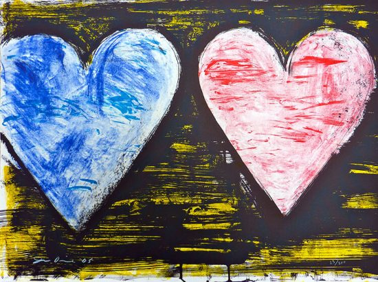 Jim Dine Lithograph, Hearts