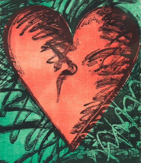 Jim Dine Lithograph, Rancho Woodcut Heart, 1982