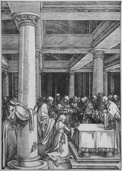 Albrecht Dürer Woodcut, The Presentation of Christ in the Temple (The Life of the Virgin) c. 1505
