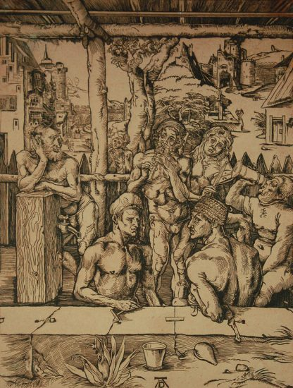 Albrecht Dürer Woodcut, The Bath House, c. 1580
