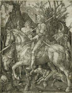 Albrecht Dürer Engraving, Knight, Death, & Devil, 1513