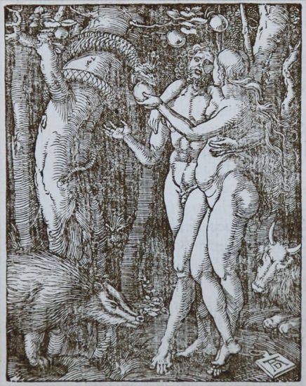 Albrecht Dürer Woodcut, The Fall of Man (The Small Passion), 1612