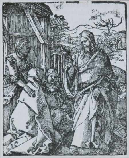 Albrecht Dürer Woodcut, Christ Taking Leave of His Mother (The Small Passion), 1612