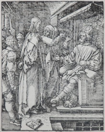Albrecht Dürer Lithograph, Christ Before Herod (The Small Passion), 1612