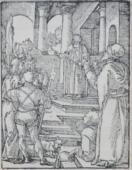 Albrecht Dürer Lithograph, Christ Before Pilate (The Small Passion), 1612