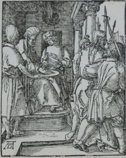 Albrecht Dürer Woodcut, Pilate Washing His Hands (The Small Passion), 1612