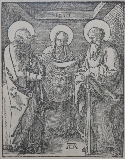 Albrecht Dürer Woodcut, Saints Veronica, Peter, and Paul (The Small Passion), 1612