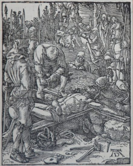 Albrecht Dürer Woodcut, The Nailing to the Cross (The Small Passion), 1612