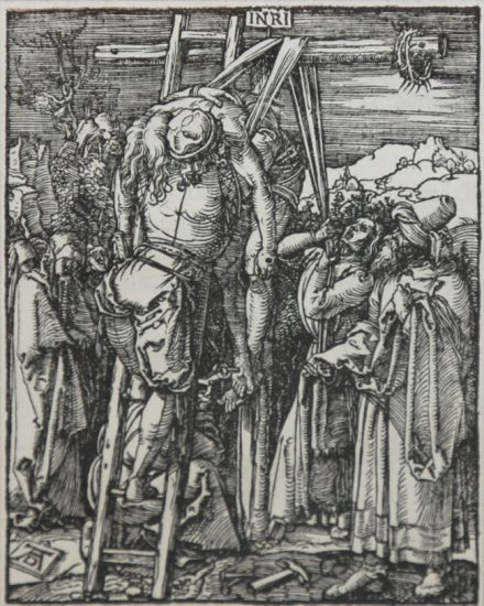 Albrecht Dürer Woodcut, The Deposition or The Descent from the Cross (The Small Passion), 1612