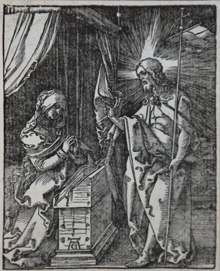 Albrecht Dürer Woodcut, Christ Appearing to His Mother (The Small Passion), 1612