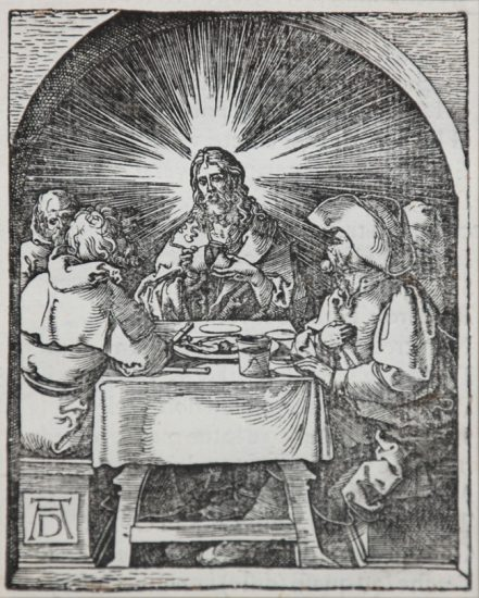Albrecht Dürer Woodcut, Christ at Emmaus (The Small Passion), 1612