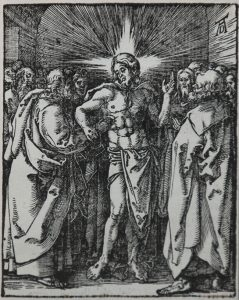 Albrecht Dürer Woodcut, The Doubting Thomas or Christ Appearing to the Apostles (The Small Passion),  1612