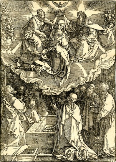Albrecht Dürer Woodcut, The Assumption and Coronation of the Virgin, 1510