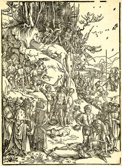 Albrecht Dürer Lithograph, The Martyrdom of Ten Thousand, c. 1496