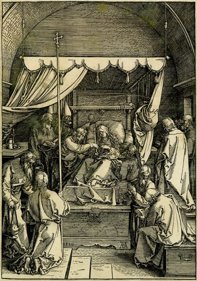 Albrecht Dürer Woodcut, The Death of the Virgin (The Life of the Virgin), 1510