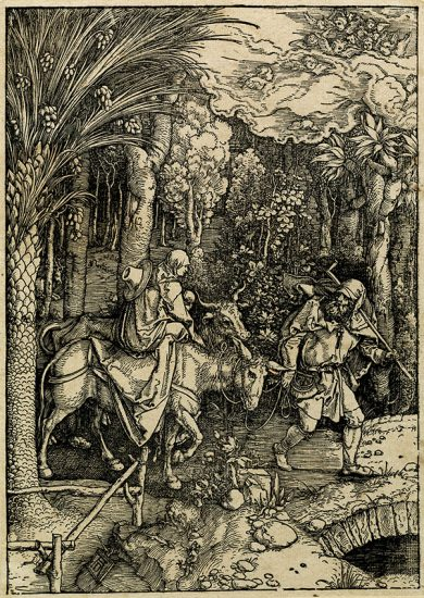 Albrecht Dürer Woodcut, The Flight into Egypt (The Life of the Virgin), c. 1503