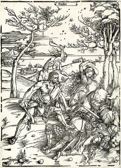Albrecht Dürer Woodcut, Hercules Conquering the Molionide Twins, 1496-1498