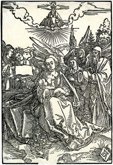 Albrecht Dürer Woodcut, The Holy Family with Five Angels, c. 1503-1504