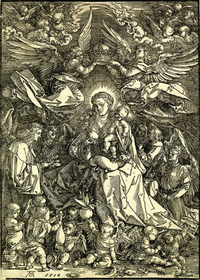 Albrecht Dürer Woodcut, Madonna Queen of Angels (The Virgin Surrounded by Many Angels) 1518