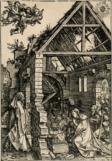 Albrecht Dürer Woodcut, The Adoration of the Shepherds (Nativity) (The Life of the Virgin), c. 1503