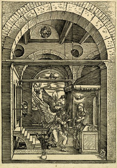 Albrecht Dürer Woodcut, The Annunciation (The Life of the Virgin), c. 1503
