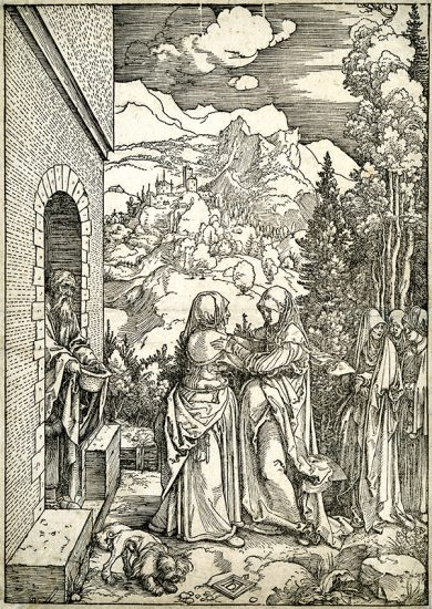 Albrecht Dürer Woodcut, The Visitation (The Life of the Virgin), c. 1504