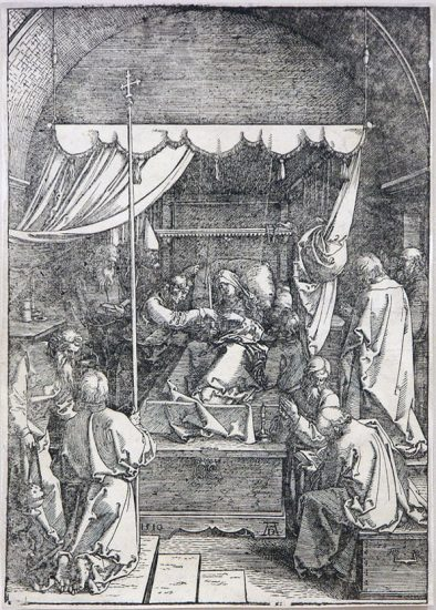 Albrecht Dürer Woodcut, The Death of the Virgin, (Life of the Virgin)