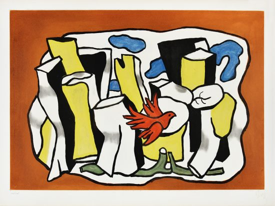 Fernand Léger Lithograph, Red Bird in the Woods, 1953