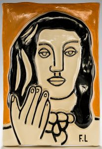 Fernand Léger Ceramic, Visage a une main sur fond ocre (Face with One Hand on Ocher Background)