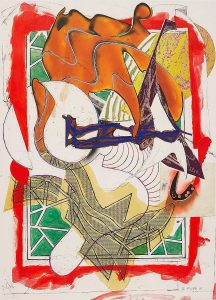 Frank Stella Silkscreen, Hark! from Waves, II, 1988