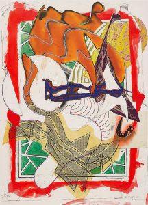 Frank Stella Silkscreen, Hark! from Waves, II, 1988