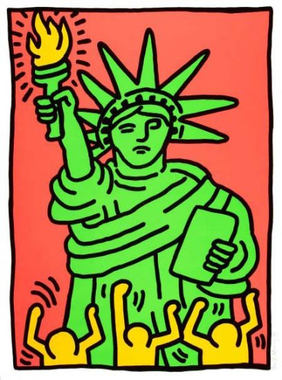 Keith Haring Screen Print, Statue of Liberty, 1986