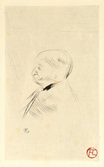 Henri de Toulouse-Lautrec Etching, Portrait d'un homme, Monsieur X, 1898