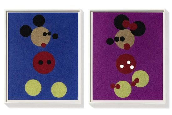Damien Hirst Screen Print, Mickey (Blue Glitter) & Minnie (Pink Glitter), 2016