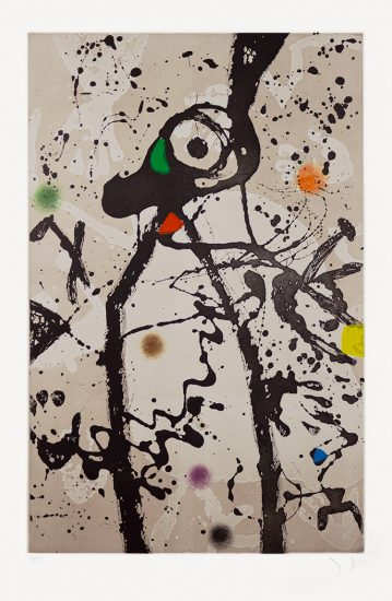 Joan Miró Aquatint, Souris noire a la mantille (Black Mouse with Mantilla), 1975