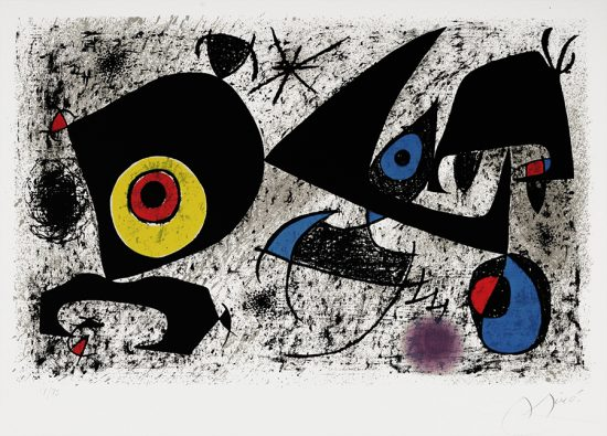 Joan Miró Lithograph, Hommage à Miró, 1972