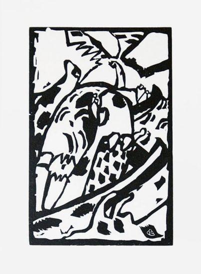 Wassily Kandinsky Woodcut, Improvisation 7, 1913