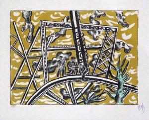 Fernand Léger Lithograph, L'échafaudage Au Soleil (Scaffolding To The Sun) 1951