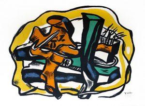 Fernand Léger Lithograph, Composition sur fond Jaune, 1952