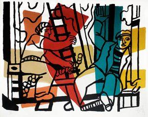 Fernand Léger Lithograph, Les Constructeurs (The Builders), 1955