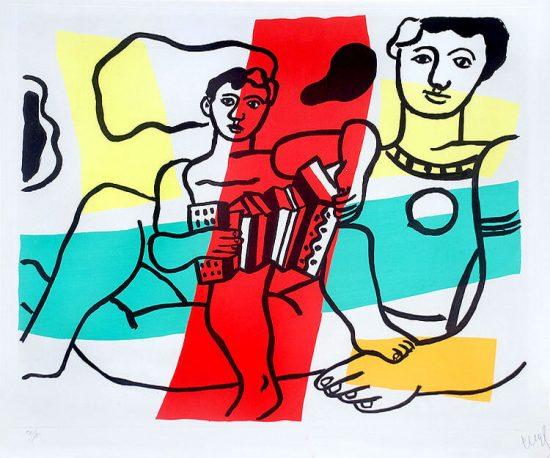 Fernand Léger Aquatint, L'enfant à l'accordéon, 1953