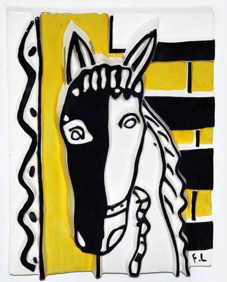 Fernand Léger Ceramic, Le Cheval sur fond jaune, 1953