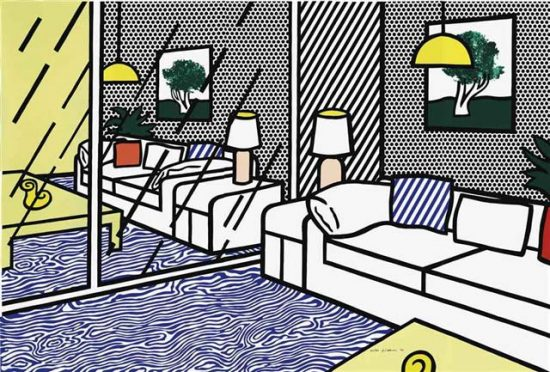 Roy Lichtenstein Lithograph, Wallpaper with blue floor interior, 1992