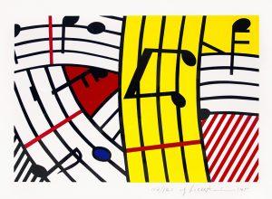 Roy Lichtenstein Screen Print, Composition IV (Musical Notes),1995