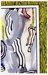 Roy Lichtenstein Woodcut, Painting on Blue and yellow wall from PAINTINGS , 1984