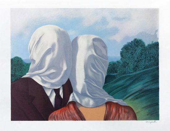 René Magritte Lithograph, Les Amants (The Lovers)